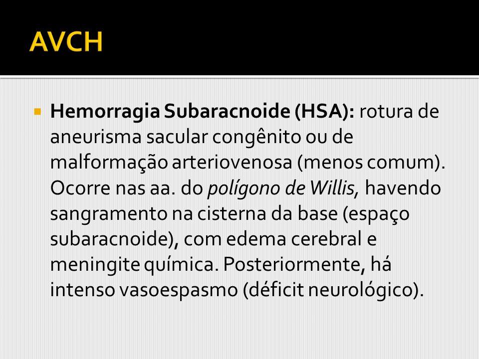 Hemorragia Subaracnoide (HSA): rotura de aneurisma sacular congênito ou de malformação arteriovenosa (menos comum). Ocorre nas aa. do polígono de Will