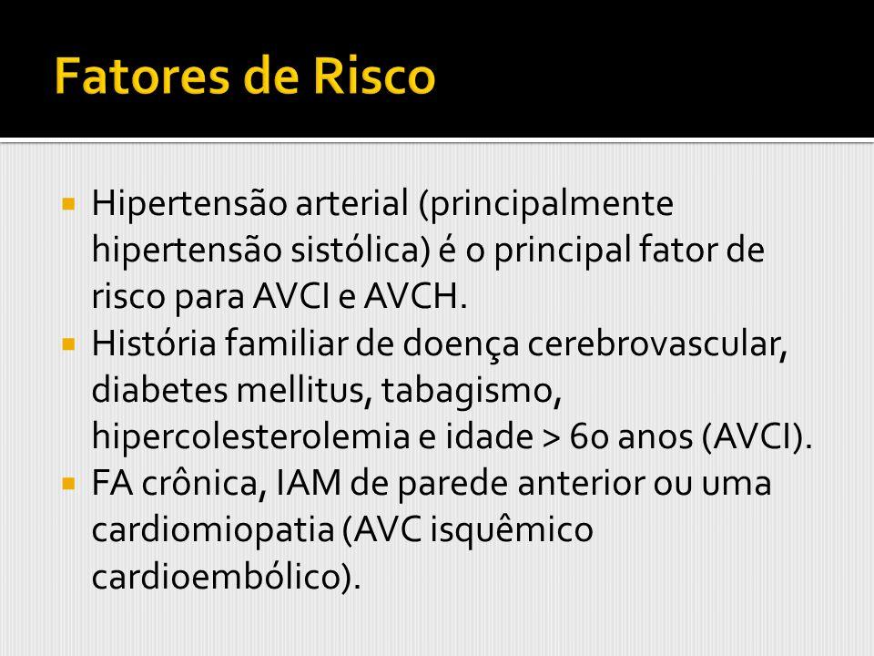 Hipertensão arterial (principalmente hipertensão sistólica) é o principal fator de risco para AVCI e AVCH. História familiar de doença cerebrovascular