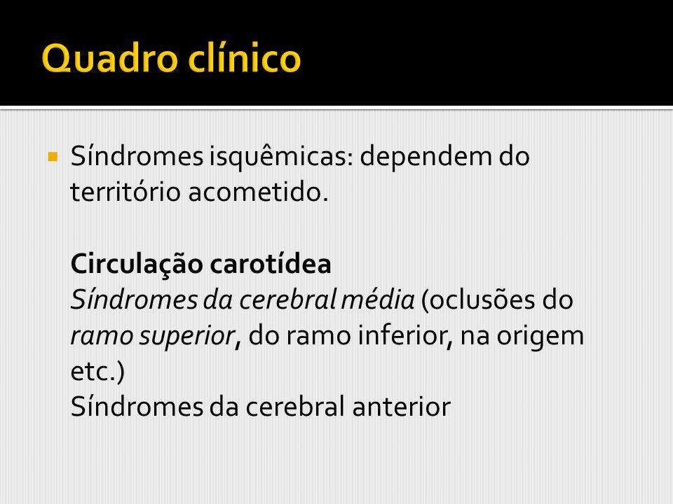 Síndromes isquêmicas: dependem do território acometido. Circulação carotídea Síndromes da cerebral média (oclusões do ramo superior, do ramo inferior,