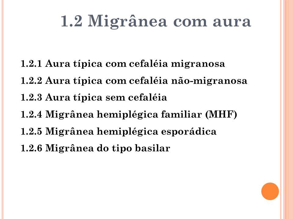 1.2.1 Aura típica com cefaléia migranosa 1.2.2 Aura típica com cefaléia não-migranosa 1.2.3 Aura típica sem cefaléia 1.2.4 Migrânea hemiplégica famili
