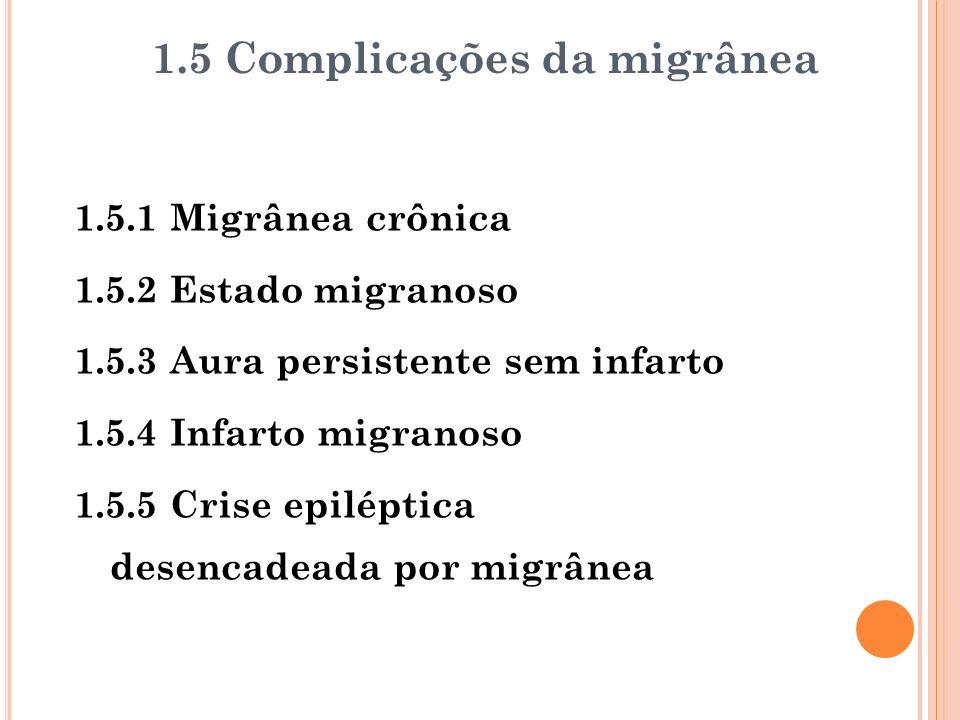1.5.1 Migrânea crônica 1.5.2 Estado migranoso 1.5.3 Aura persistente sem infarto 1.5.4 Infarto migranoso 1.5.5 Crise epiléptica desencadeada por migrâ