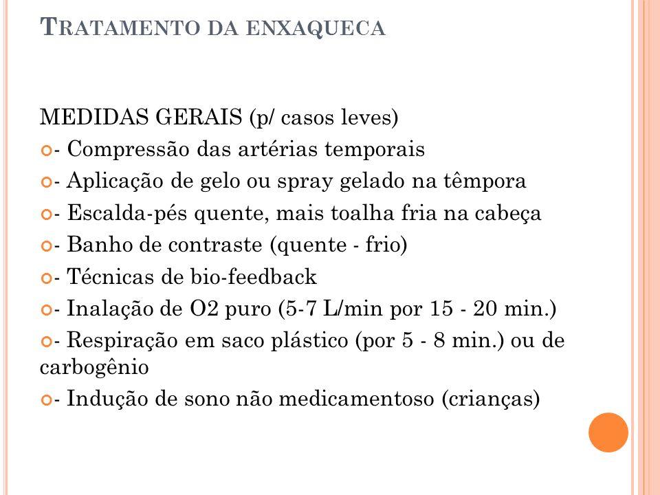 T RATAMENTO DA ENXAQUECA MEDIDAS GERAIS (p/ casos leves) - Compressão das artérias temporais - Aplicação de gelo ou spray gelado na têmpora - Escalda-