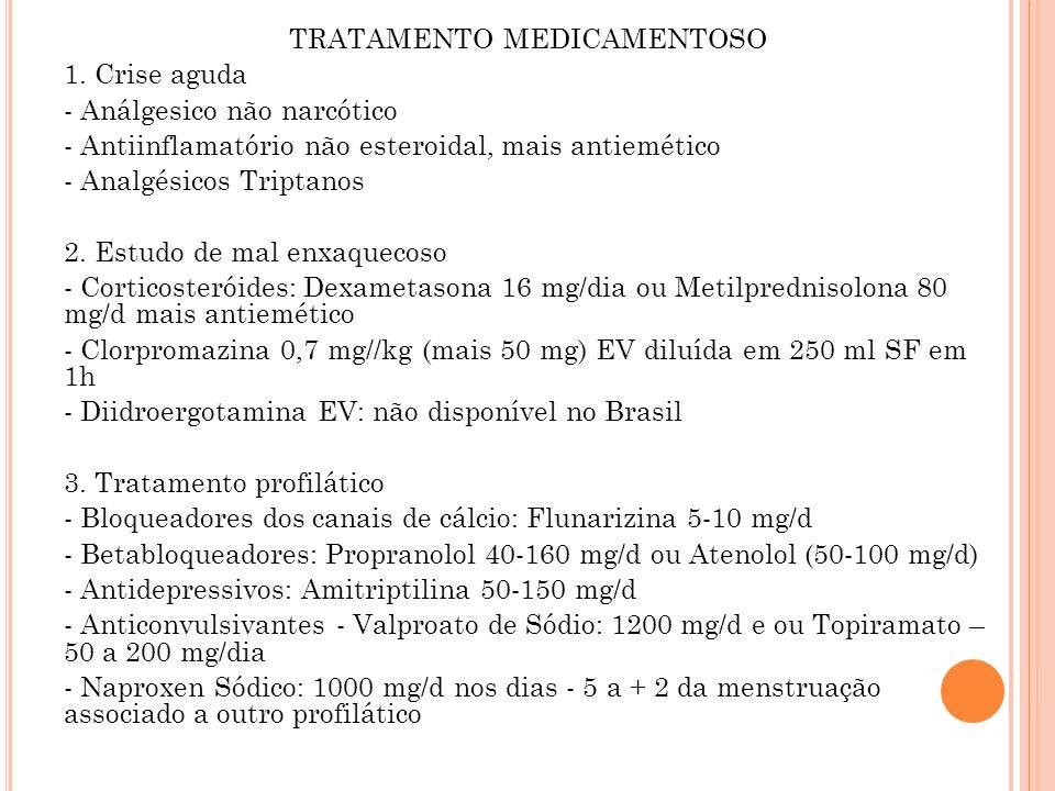 TRATAMENTO MEDICAMENTOSO 1. Crise aguda - Análgesico não narcótico - Antiinflamatório não esteroidal, mais antiemético - Analgésicos Triptanos 2. Estu