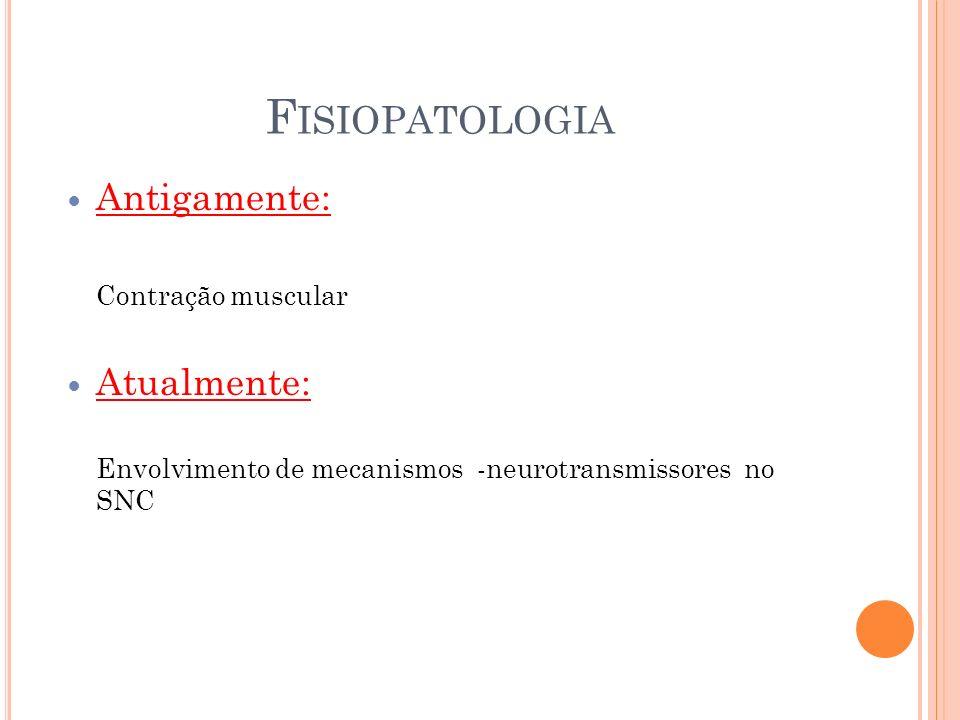 F ISIOPATOLOGIA Antigamente: Contração muscular Atualmente: Envolvimento de mecanismos -neurotransmissores no SNC