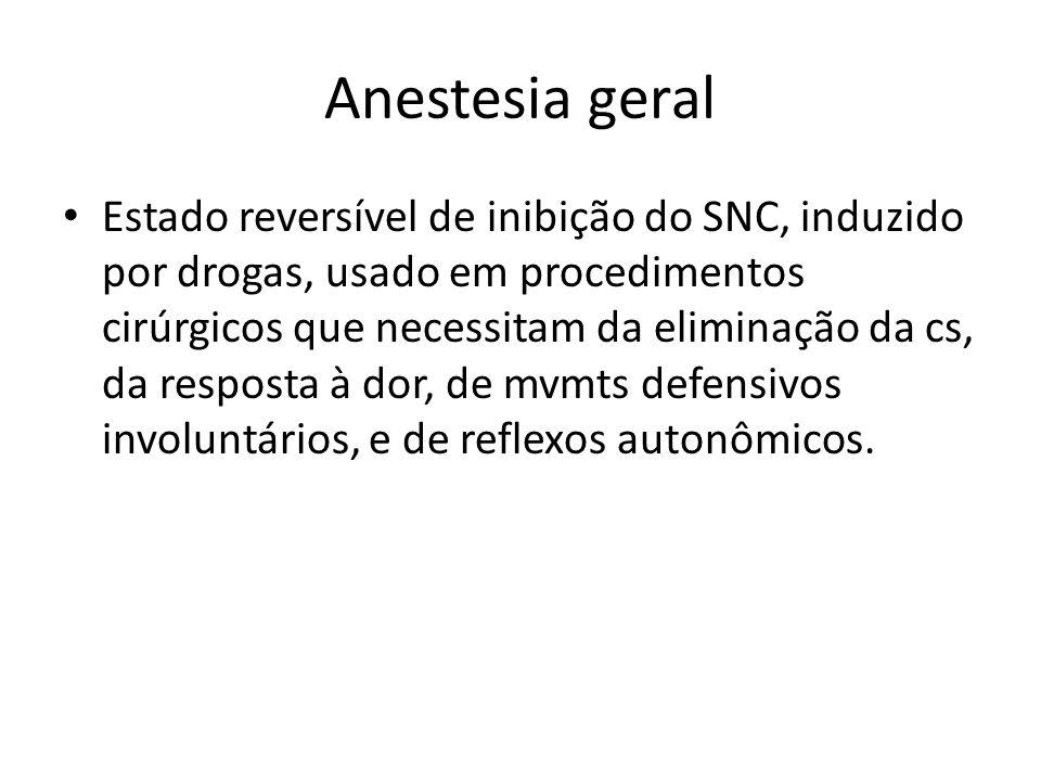 Anestesia geral Estado reversível de inibição do SNC, induzido por drogas, usado em procedimentos cirúrgicos que necessitam da eliminação da cs, da re