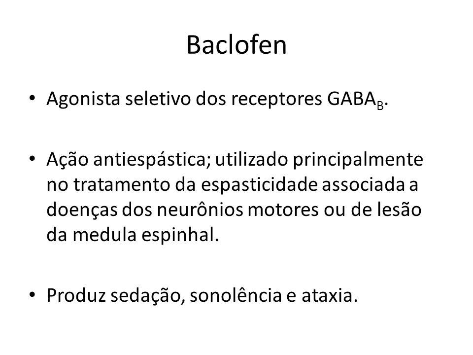 Baclofen Agonista seletivo dos receptores GABA B. Ação antiespástica; utilizado principalmente no tratamento da espasticidade associada a doenças dos