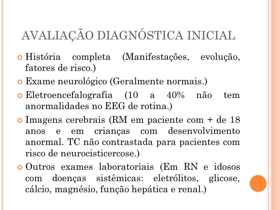 AVALIAÇÃO DIAGNÓSTICA INICIAL História completa (Manifestações, evolução, fatores de risco.) Exame neurológico (Geralmente normais.) Eletroencefalogra
