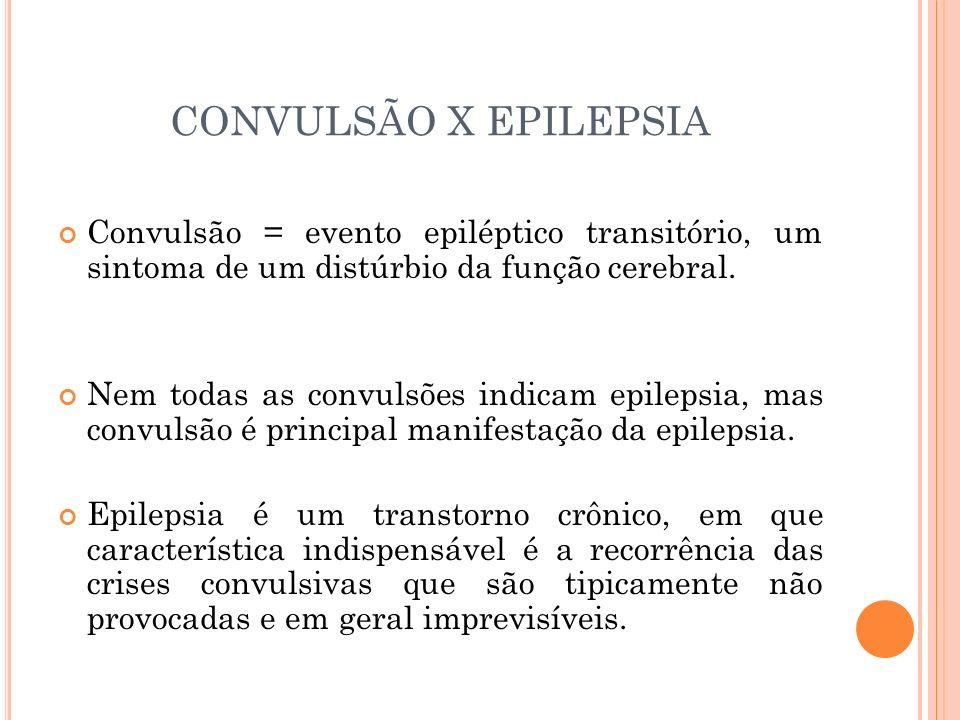 CONVULSÃO X EPILEPSIA Convulsão = evento epiléptico transitório, um sintoma de um distúrbio da função cerebral. Nem todas as convulsões indicam epilep