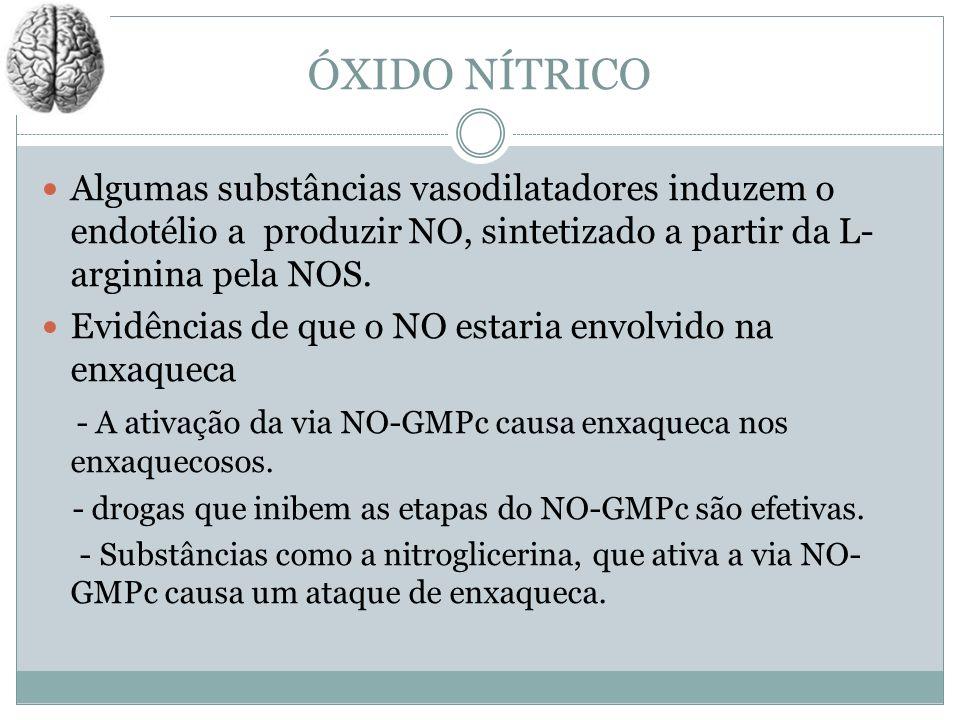 ÓXIDO NÍTRICO Algumas substâncias vasodilatadores induzem o endotélio a produzir NO, sintetizado a partir da L- arginina pela NOS. Evidências de que o