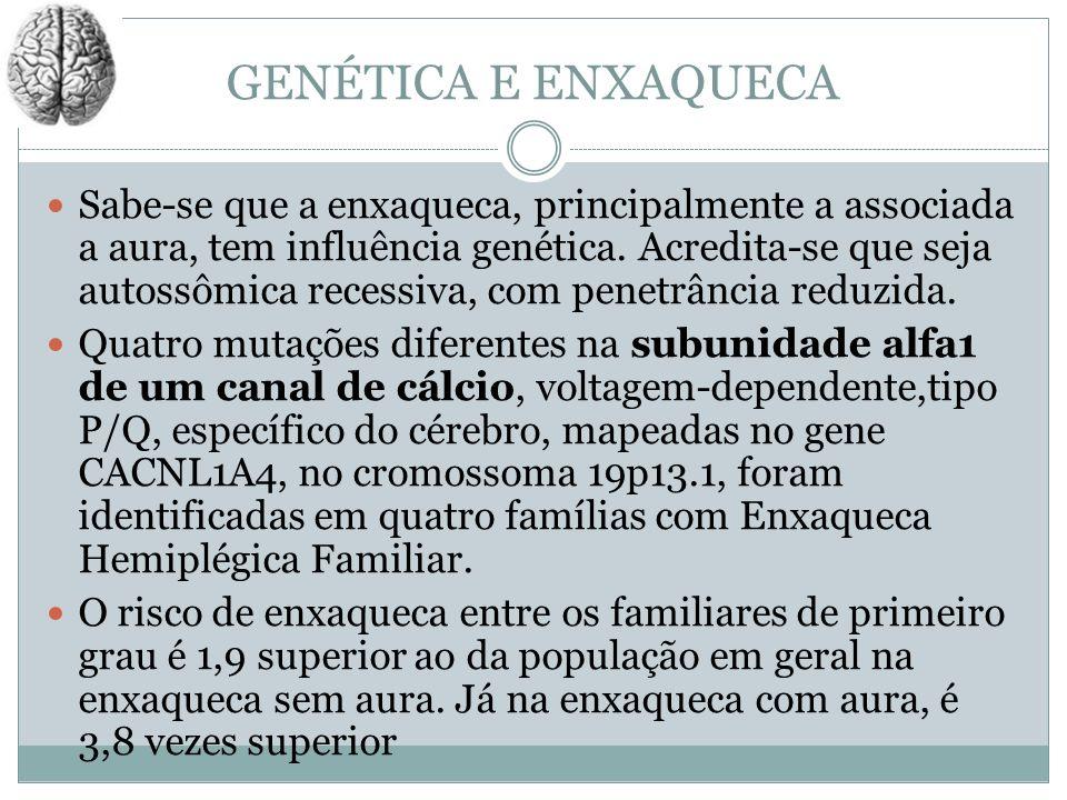 GENÉTICA E ENXAQUECA Sabe-se que a enxaqueca, principalmente a associada a aura, tem influência genética. Acredita-se que seja autossômica recessiva,