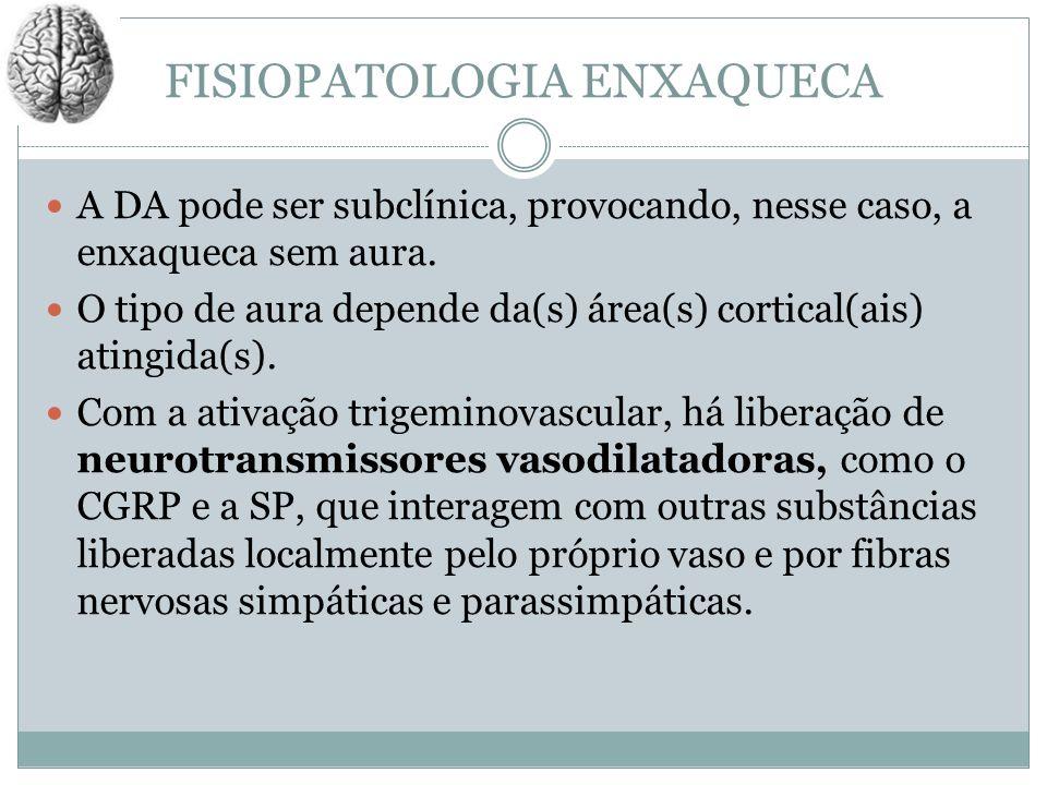 FISIOPATOLOGIA ENXAQUECA A DA pode ser subclínica, provocando, nesse caso, a enxaqueca sem aura. O tipo de aura depende da(s) área(s) cortical(ais) at
