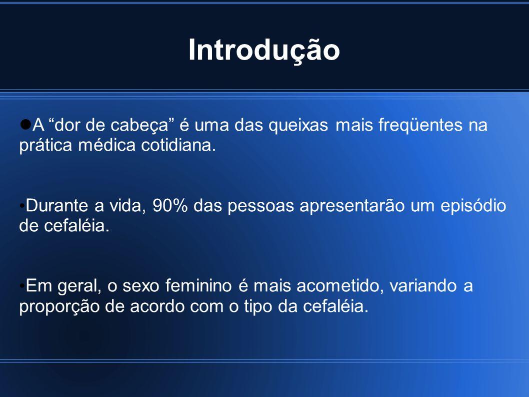 Introdução Cefaléias compõem importante problema de saúde pública no Brasil e no mundo devido à: - impacto individual e social - alta incidência - elevado potencial de cronificação - altos custos econômicos - redução na qualidade de vida de seus portadores