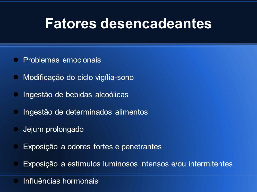 Fatores desencadeantes Problemas emocionais Modificação do ciclo vigília-sono Ingestão de bebidas alcoólicas Ingestão de determinados alimentos Jejum