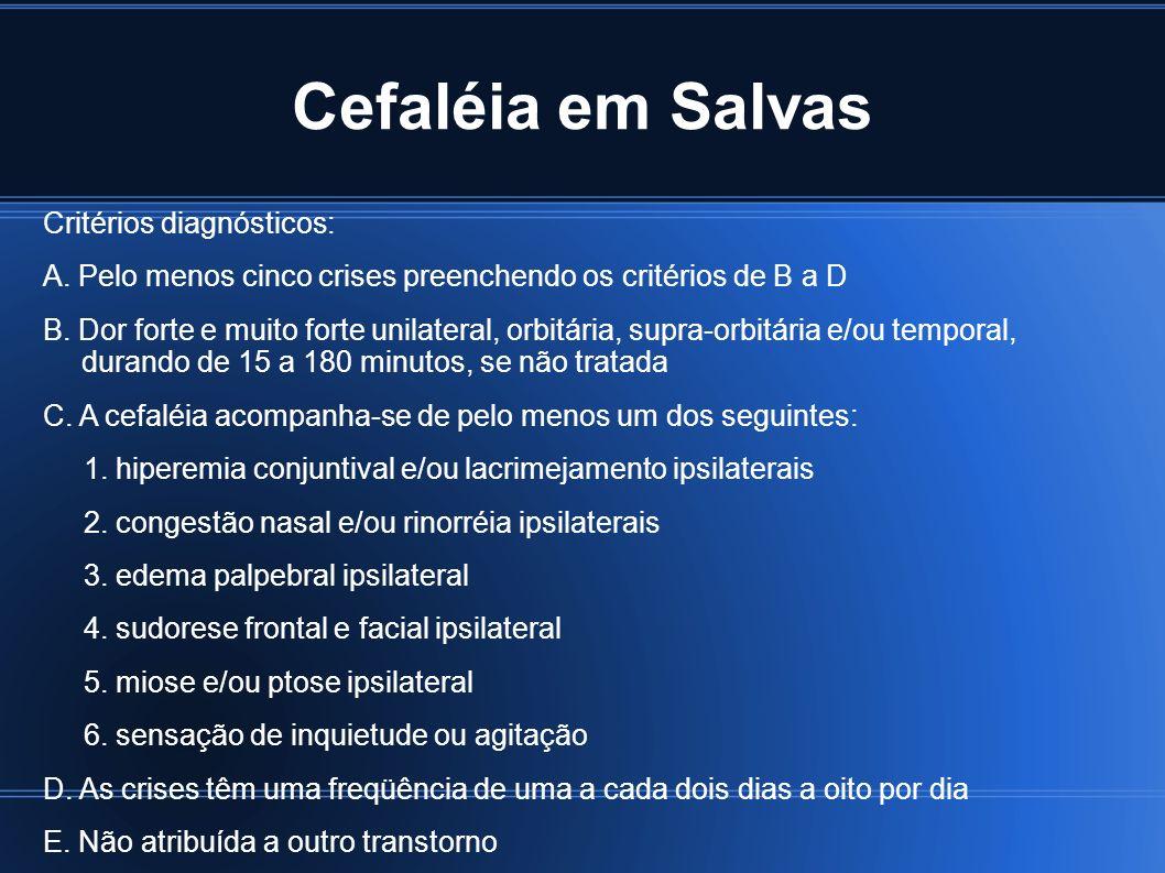 Cefaléia em Salvas Critérios diagnósticos: A. Pelo menos cinco crises preenchendo os critérios de B a D B. Dor forte e muito forte unilateral, orbitár