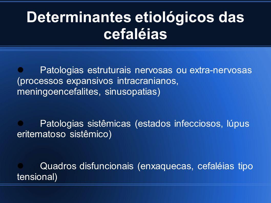 Bases Anatômicas Mecanismos envolvidos no surgimento da dor: Distensão, tração e dilatação das artérias intra ou extra cranianas Tração ou deslocamento de grandes veias intracranianas ou do invólucro dural no qual se situam Compressão, tração ou doença intrínseca de nervos medulares e cranianos Espasmo voluntário ou involuntário e inflamação intersticial e traumatismo dos músculos cranianos e cervicais Hipertensão intracraniana e irritação meníngea Histeria e distúrbios psicogênicos
