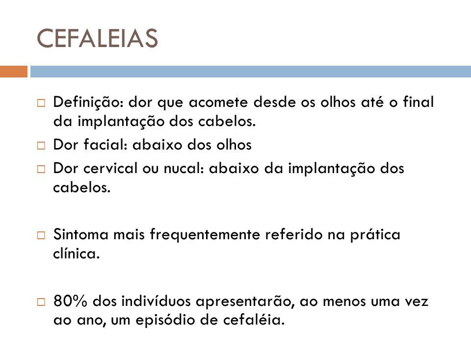CEFALEIAS Definição: dor que acomete desde os olhos até o final da implantação dos cabelos. Dor facial: abaixo dos olhos Dor cervical ou nucal: abaixo