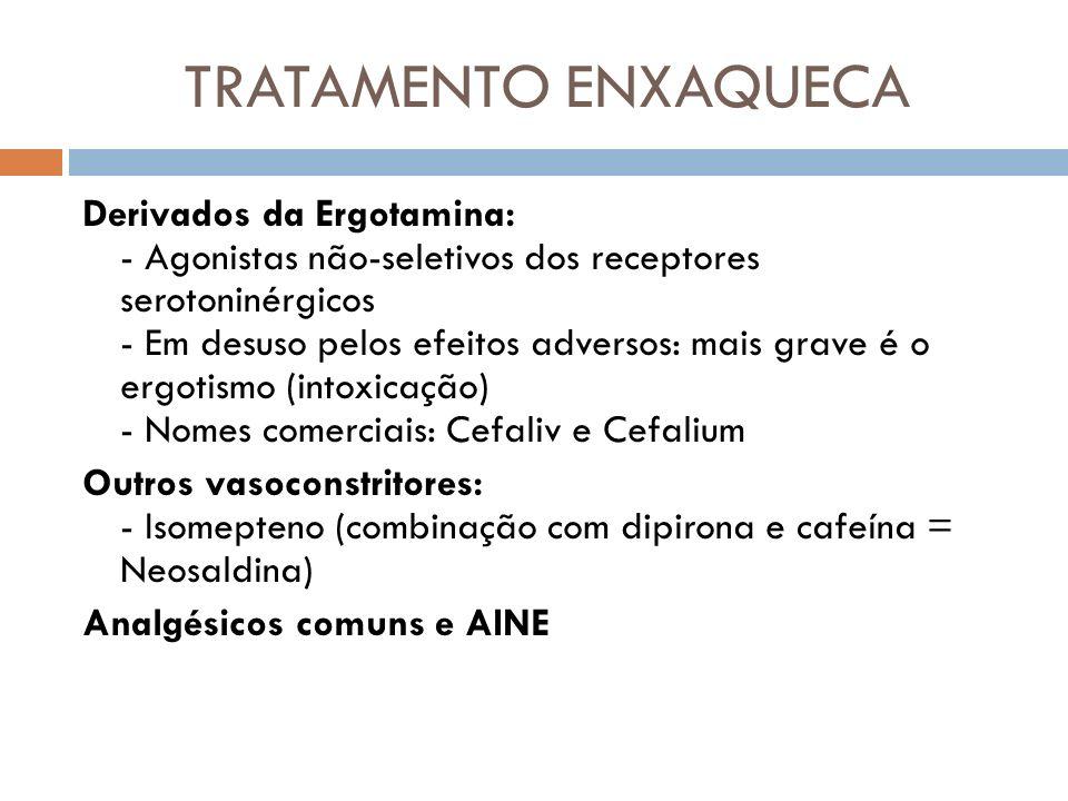 TRATAMENTO ENXAQUECA Derivados da Ergotamina: - Agonistas não-seletivos dos receptores serotoninérgicos - Em desuso pelos efeitos adversos: mais grave