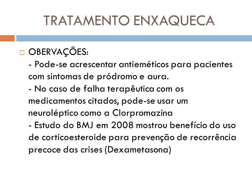 TRATAMENTO ENXAQUECA OBERVAÇÕES: - Pode-se acrescentar antieméticos para pacientes com sintomas de pródromo e aura. - No caso de falha terapêutica com