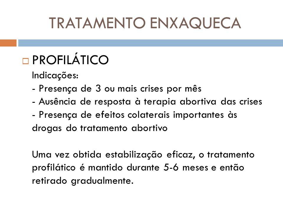 TRATAMENTO ENXAQUECA PROFILÁTICO Indicações: - Presença de 3 ou mais crises por mês - Ausência de resposta à terapia abortiva das crises - Presença de