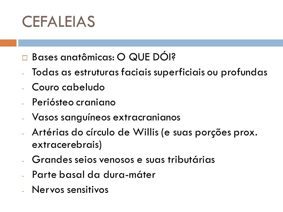 CEFALEIAS Bases anatômicas: O QUE DÓI? - Todas as estruturas faciais superficiais ou profundas - Couro cabeludo - Periósteo craniano - Vasos sanguíneo
