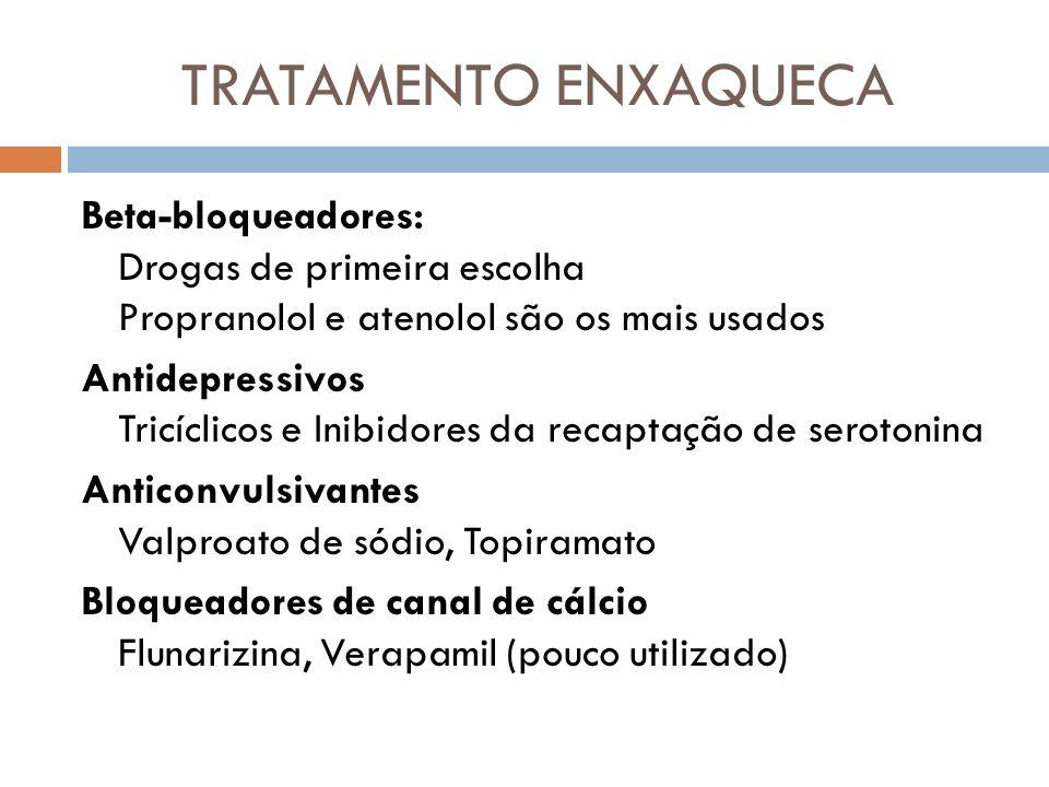 TRATAMENTO ENXAQUECA Beta-bloqueadores: Drogas de primeira escolha Propranolol e atenolol são os mais usados Antidepressivos Tricíclicos e Inibidores