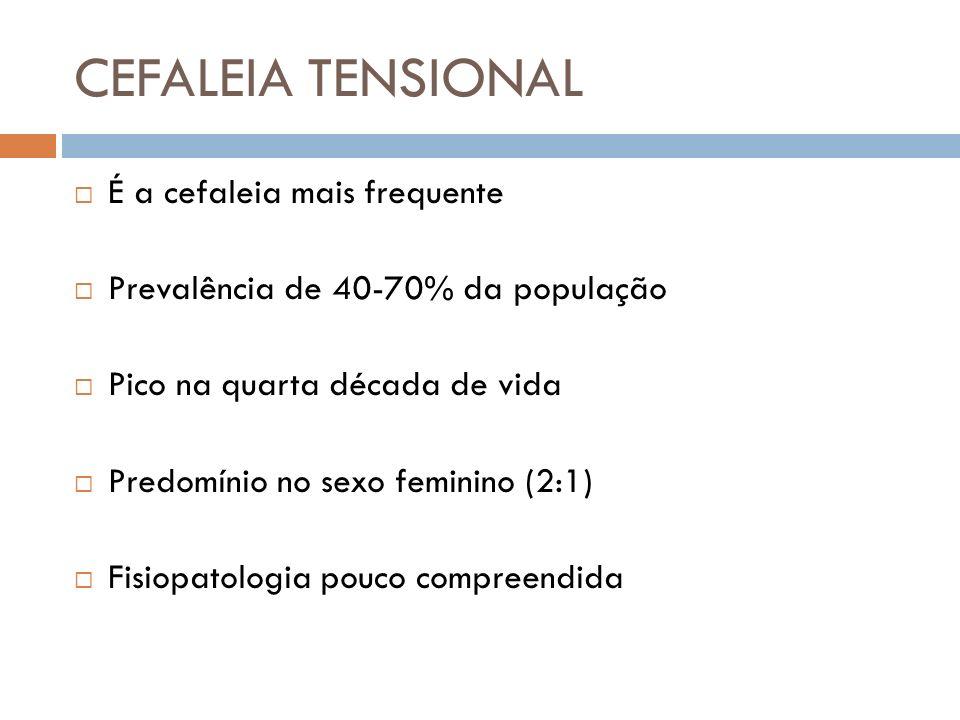 É a cefaleia mais frequente Prevalência de 40-70% da população Pico na quarta década de vida Predomínio no sexo feminino (2:1) Fisiopatologia pouco co