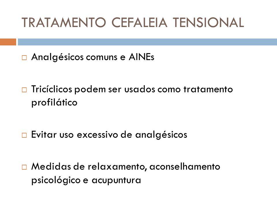 TRATAMENTO CEFALEIA TENSIONAL Analgésicos comuns e AINEs Tricíclicos podem ser usados como tratamento profilático Evitar uso excessivo de analgésicos