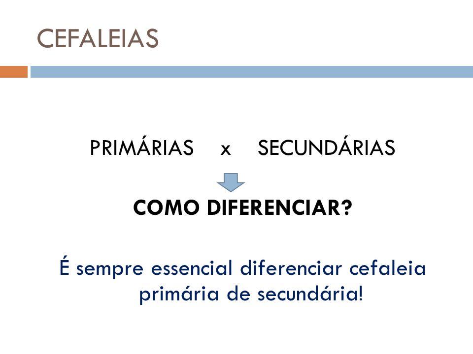 CEFALEIAS PRIMÁRIAS x SECUNDÁRIAS COMO DIFERENCIAR? É sempre essencial diferenciar cefaleia primária de secundária!