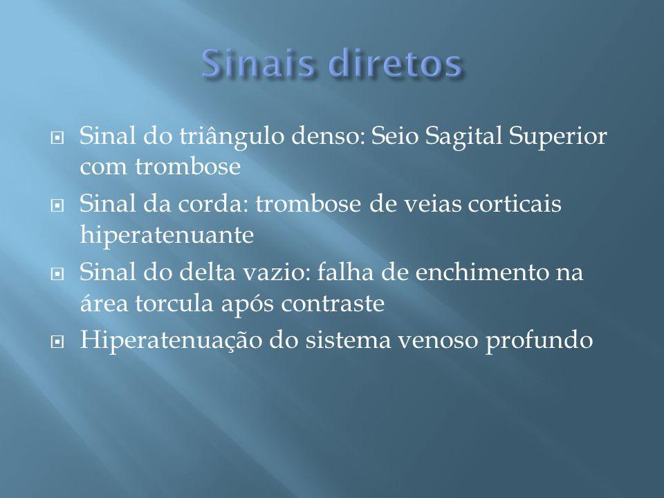Sinal do triângulo denso: Seio Sagital Superior com trombose Sinal da corda: trombose de veias corticais hiperatenuante Sinal do delta vazio: falha de