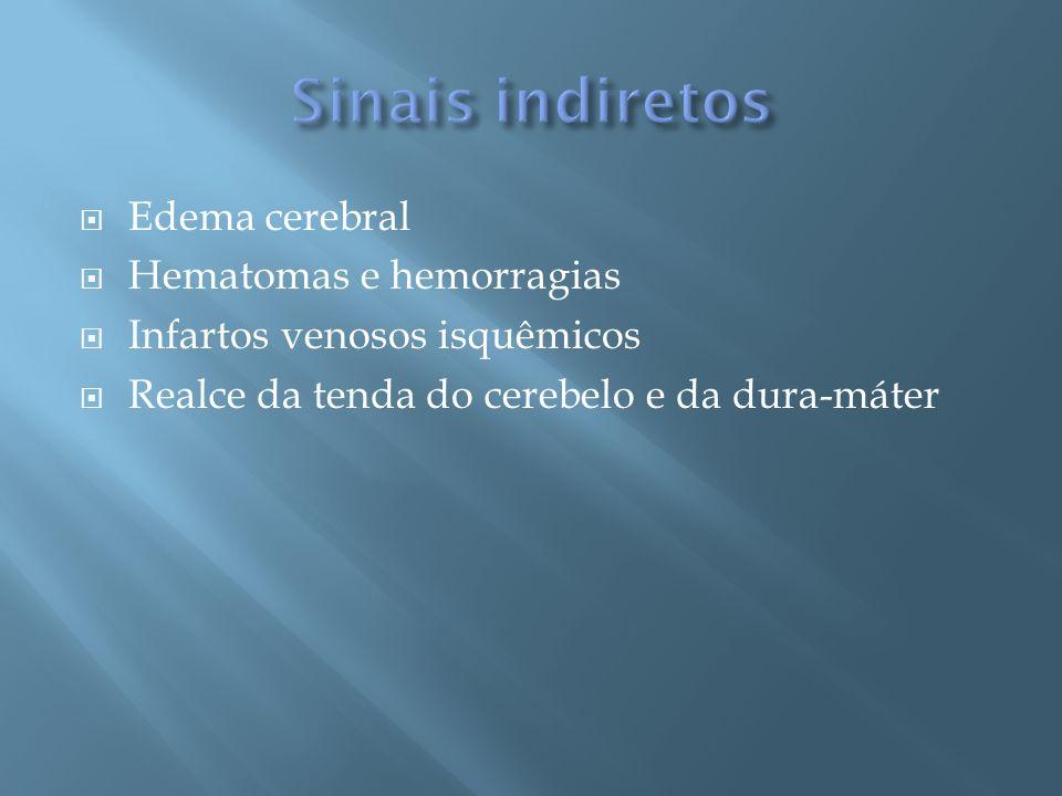 Edema cerebral Hematomas e hemorragias Infartos venosos isquêmicos Realce da tenda do cerebelo e da dura-máter