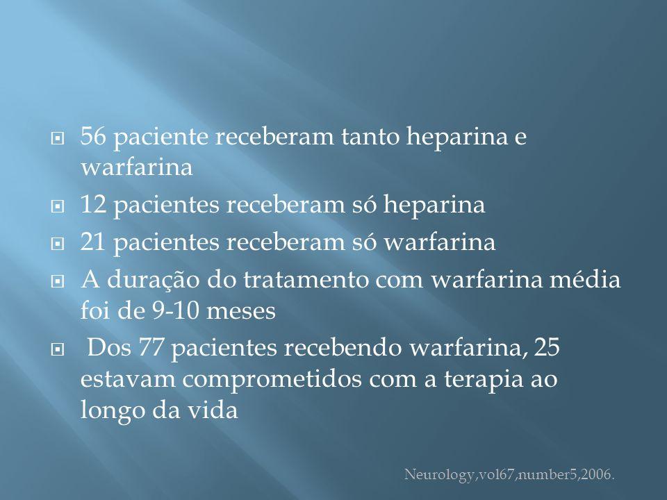 56 paciente receberam tanto heparina e warfarina 12 pacientes receberam só heparina 21 pacientes receberam só warfarina A duração do tratamento com wa