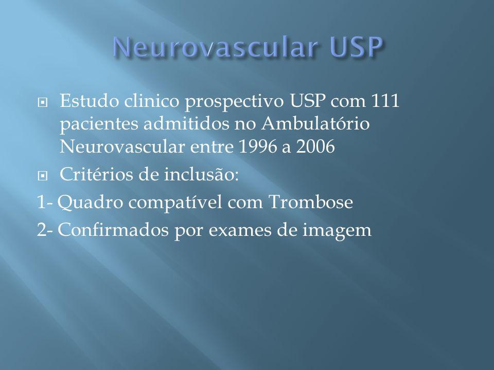 Estudo clinico prospectivo USP com 111 pacientes admitidos no Ambulatório Neurovascular entre 1996 a 2006 Critérios de inclusão: 1- Quadro compatível