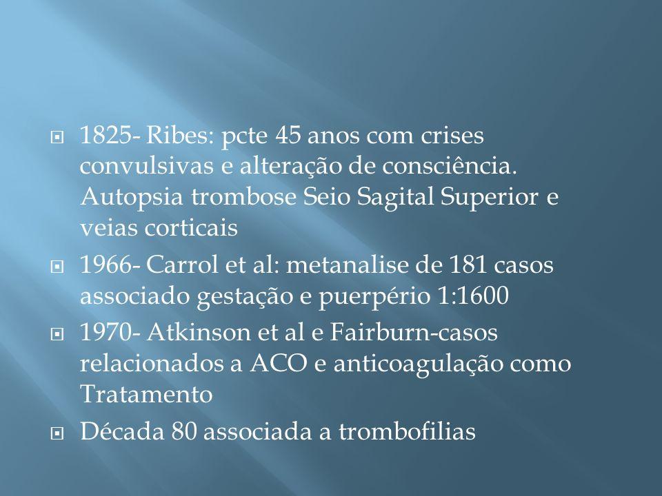 1825- Ribes: pcte 45 anos com crises convulsivas e alteração de consciência. Autopsia trombose Seio Sagital Superior e veias corticais 1966- Carrol et