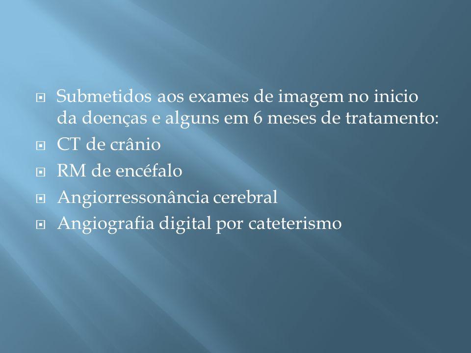 Submetidos aos exames de imagem no inicio da doenças e alguns em 6 meses de tratamento: CT de crânio RM de encéfalo Angiorressonância cerebral Angiogr