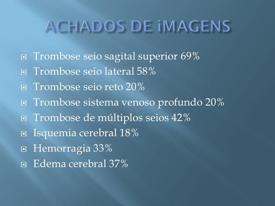 Trombose seio sagital superior 69% Trombose seio lateral 58% Trombose seio reto 20% Trombose sistema venoso profundo 20% Trombose de múltiplos seios 4