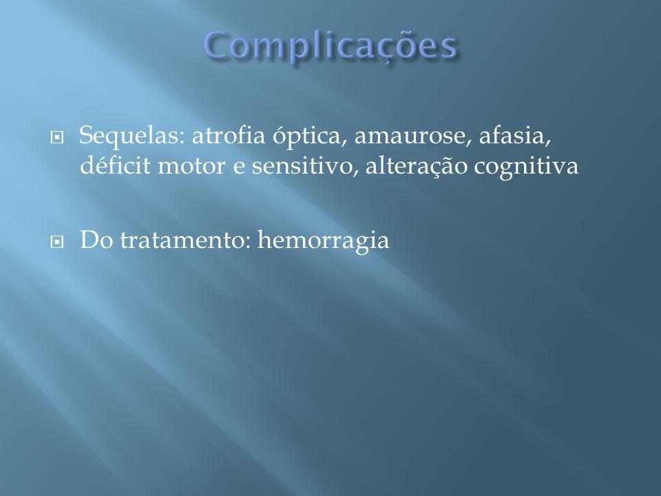 Sequelas: atrofia óptica, amaurose, afasia, déficit motor e sensitivo, alteração cognitiva Do tratamento: hemorragia