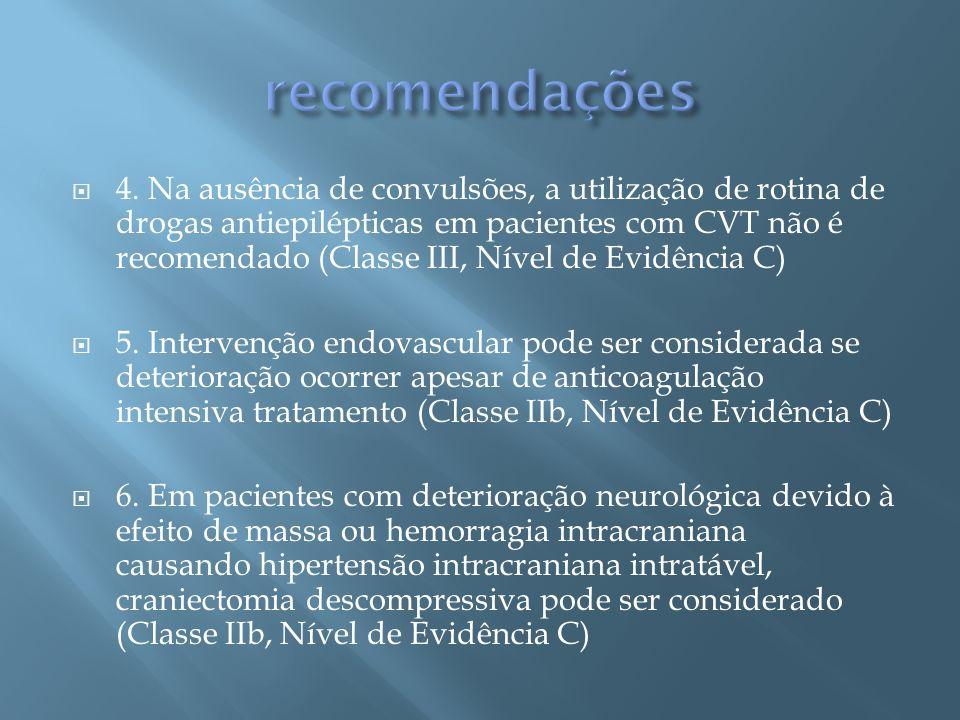 4. Na ausência de convulsões, a utilização de rotina de drogas antiepilépticas em pacientes com CVT não é recomendado (Classe III, Nível de Evidência