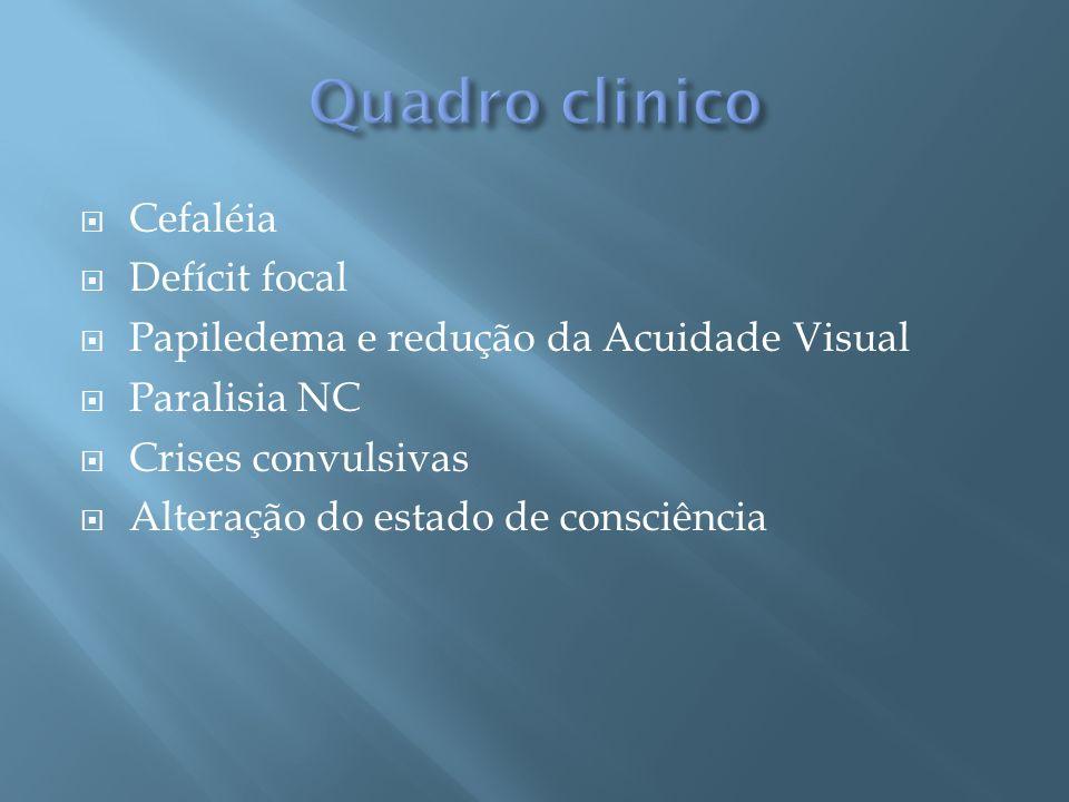 Hipertensão Intracraniana Isolada: cefaléia, náuseas e/ou vômitos, déficit visual transitório, papiledema e paresia VI NC.
