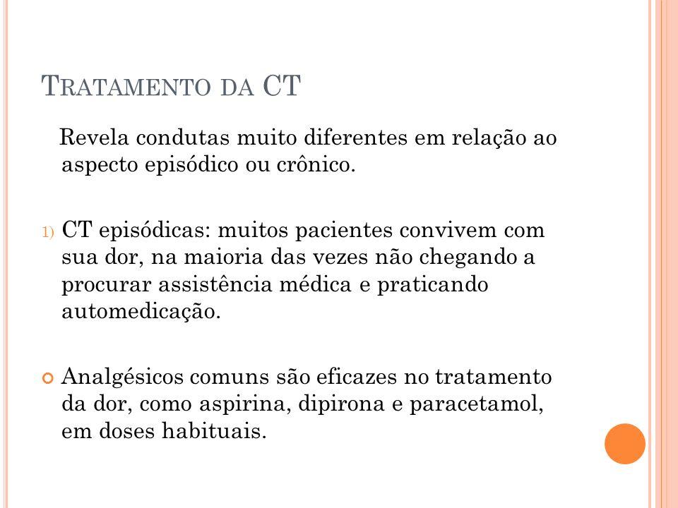 T RATAMENTO DA CT Revela condutas muito diferentes em relação ao aspecto episódico ou crônico.