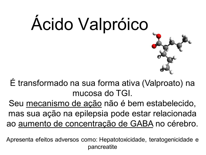 Ácido Valpróico É transformado na sua forma ativa (Valproato) na mucosa do TGI. Seu mecanismo de ação não é bem estabelecido, mas sua ação na epilepsi