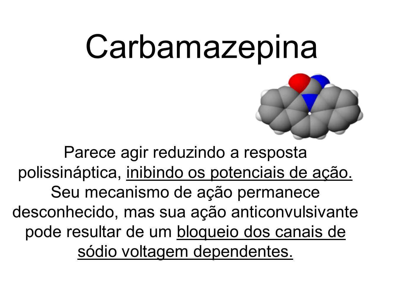 Carbamazepina Parece agir reduzindo a resposta polissináptica, inibindo os potenciais de ação. Seu mecanismo de ação permanece desconhecido, mas sua a