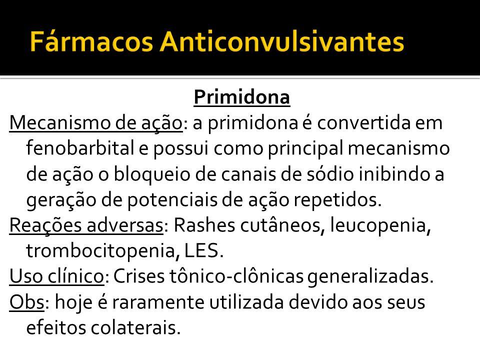 Primidona Mecanismo de ação: a primidona é convertida em fenobarbital e possui como principal mecanismo de ação o bloqueio de canais de sódio inibindo