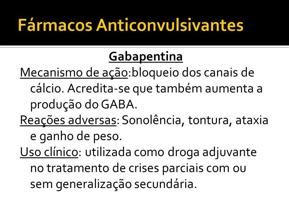 Gabapentina Mecanismo de ação:bloqueio dos canais de cálcio. Acredita-se que também aumenta a produção do GABA. Reações adversas: Sonolência, tontura,