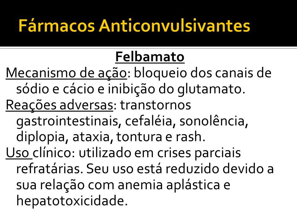 Felbamato Mecanismo de ação: bloqueio dos canais de sódio e cácio e inibição do glutamato. Reações adversas: transtornos gastrointestinais, cefaléia,