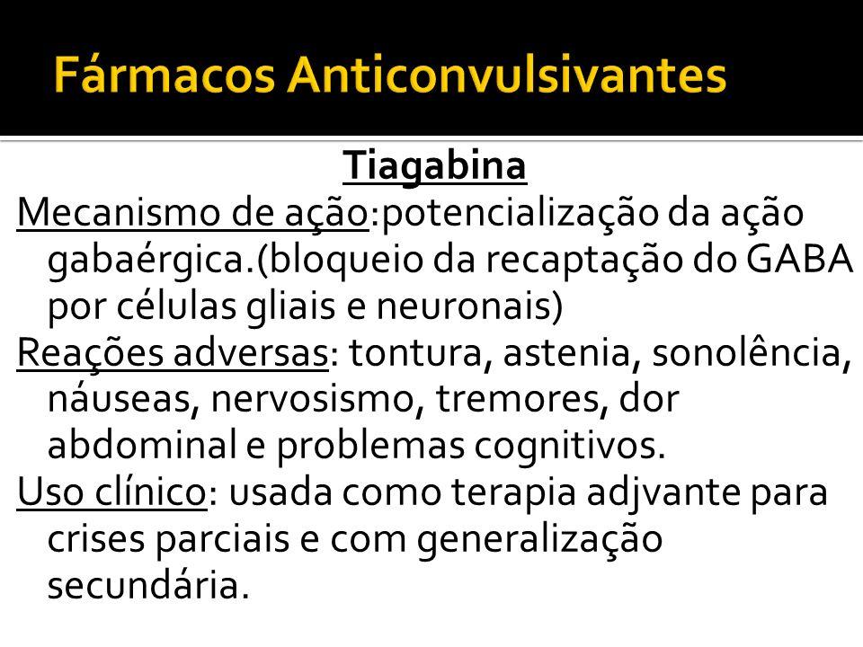 Tiagabina Mecanismo de ação:potencialização da ação gabaérgica.(bloqueio da recaptação do GABA por células gliais e neuronais) Reações adversas: tontu