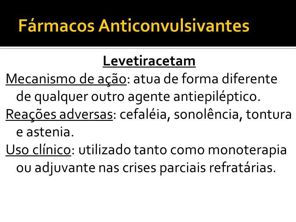 Levetiracetam Mecanismo de ação: atua de forma diferente de qualquer outro agente antiepiléptico. Reações adversas: cefaléia, sonolência, tontura e as