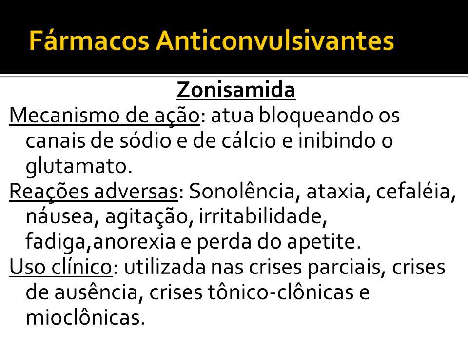 Zonisamida Mecanismo de ação: atua bloqueando os canais de sódio e de cálcio e inibindo o glutamato. Reações adversas: Sonolência, ataxia, cefaléia, n