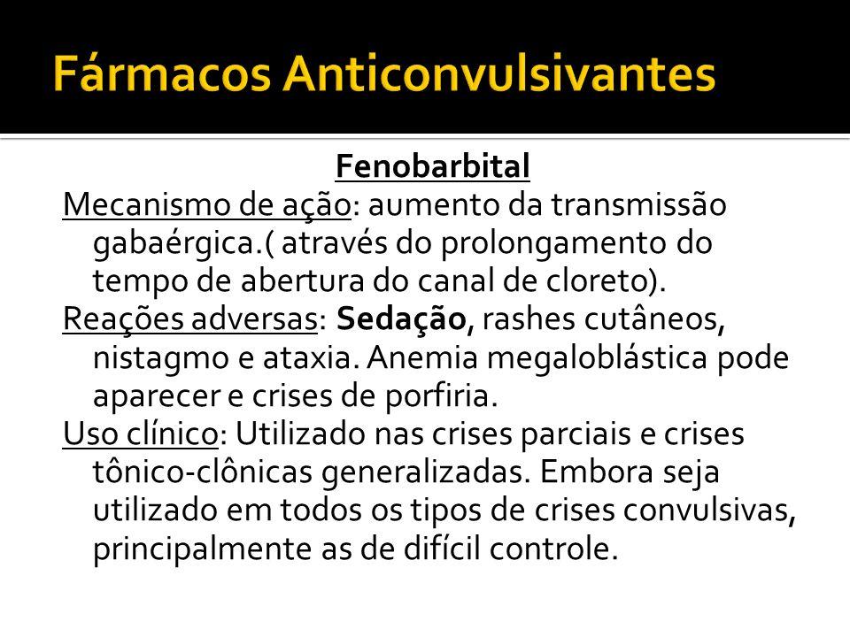 Fenobarbital Mecanismo de ação: aumento da transmissão gabaérgica.( através do prolongamento do tempo de abertura do canal de cloreto). Reações advers