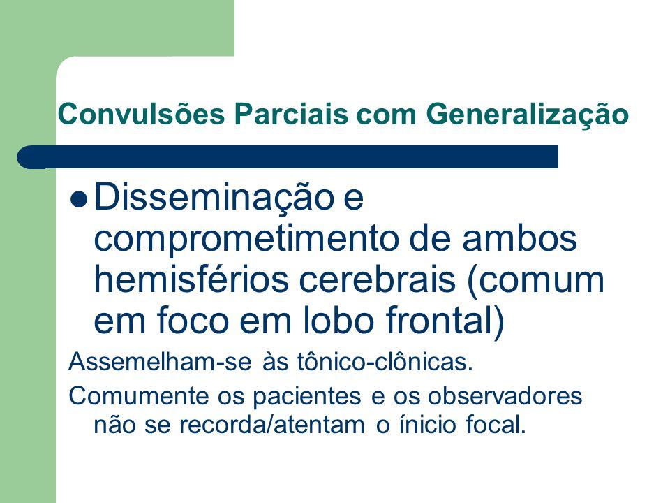Convulsões Parciais com Generalização Disseminação e comprometimento de ambos hemisférios cerebrais (comum em foco em lobo frontal) Assemelham-se às t