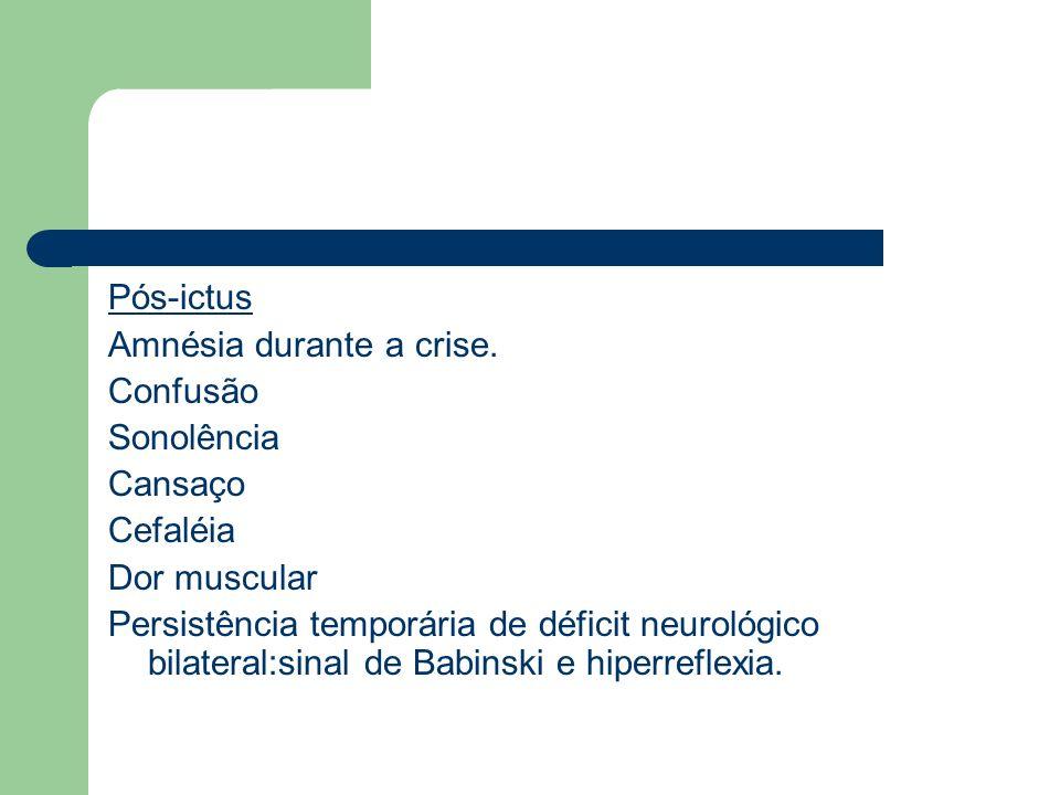 Pós-ictus Amnésia durante a crise. Confusão Sonolência Cansaço Cefaléia Dor muscular Persistência temporária de déficit neurológico bilateral:sinal de